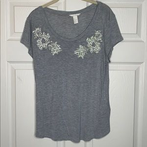 H&M   Gray   T-shirt with Diamond   Patches